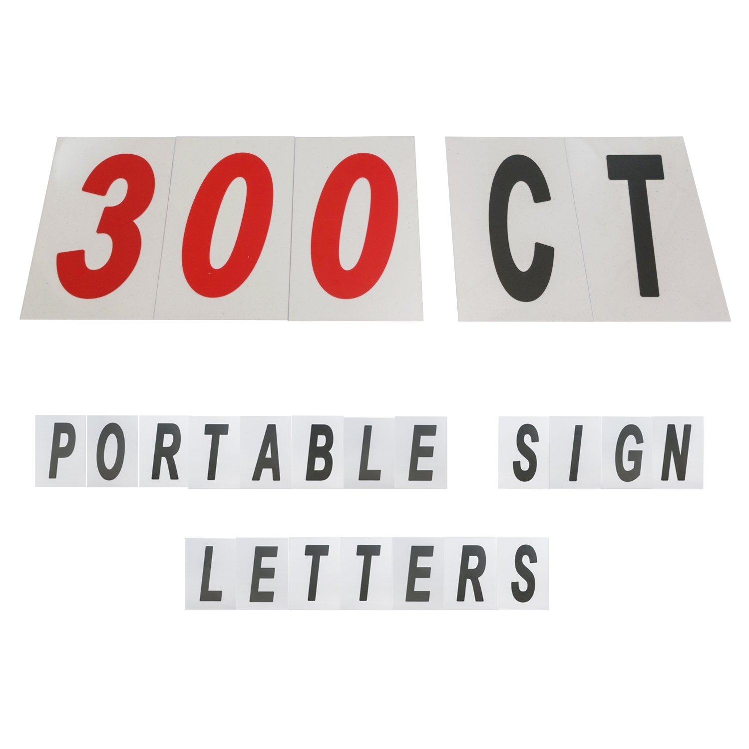 Houseables Outdoor Sign Letters & Numbers, Plastic, 8 ⅞ x 5 ½ Inch, Set Of 300, Black and Red, UV-Protected, Portable Signs, Flexible, Copy Flex, For Changeable Marquee, Reader Board, Lettering Track