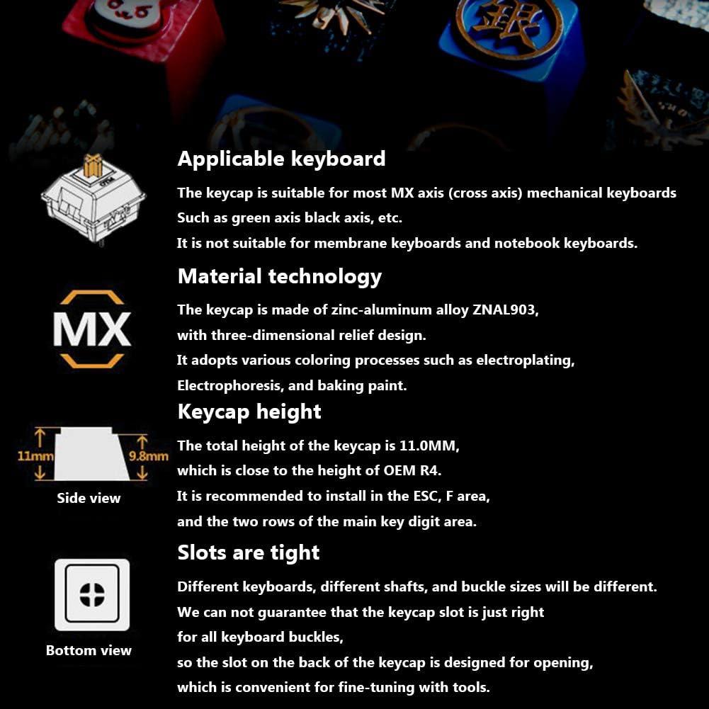 LUKUCEA Perméable à la lumière Métal Keycaps Clavier Customized Gaufrée Gaming Keyboard Keycaps Convient Hauteur R4 for Cherry MX Mechanical Keyboard,D E