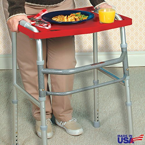 Rose Healthcare Walker Tray With Non-Slip Grip Mat - Red,One-Size