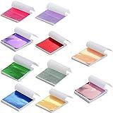 Tamicy 500 Sheets 10 Colors Metallic Gold Foil Leaf Paper - Foil Paper Slime Decorating Gilding Furniture, DIY Nails…