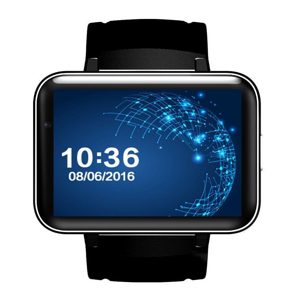 DM98 Smart Watch Card-inserted GPS 2.2'' Display Smart Phone with LED Dual Core 1.2G 900Mah Camera WIFI 3G GPS Android4.4 App For Smartphone (Black)