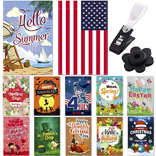 Garden Flags - Set of 12 Seasonal Garden Flags - Festive Outdoor Garden Flags for 12 Monthly Holidays - Yard Flags Made of Sturdy Polyester with Flag Stopper and Mount Included - 12x18 Inches Size ()