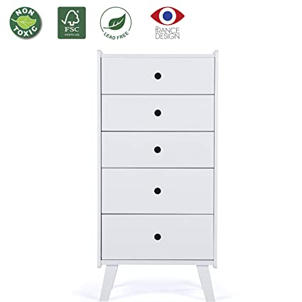 Ordinaire LUCKUP 5 Drawer Tall Chest,Bedroom Wooden Simple And Stylish Furniture,chest ,White
