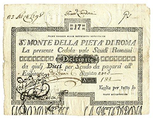 Cartamoneta  17 Scudi CEDOLA Sacro Monte della PIETÀ di Roma 01 02 1792 BB SPL