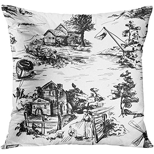 Throw Pillow Cover Classic Pattern with Old Town Village Scenes of Fishing in Toile De Jouy Style White and Black Color Decorative Pillow Case Home Decor Square 18x18 Inches Pillowcase