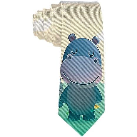 Corbata de los hombres Hipopótamo lindo de la historieta en agua ...