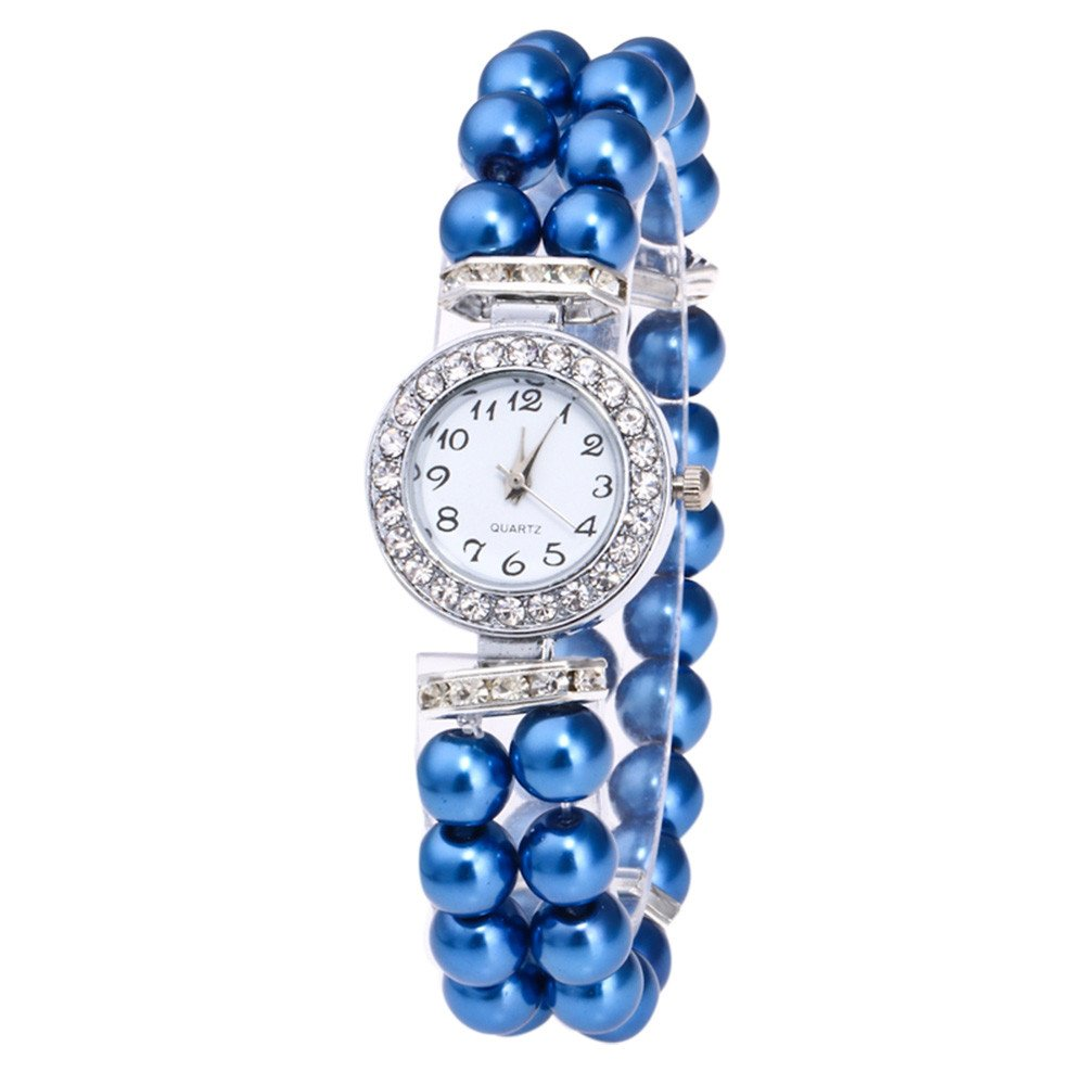 Triskye Womens Analog Quartz Watches Classic Luxury Business Casual Creative Pearl String Strap Band Rhinestone Wrist Watch Ladies Wristwatch Bracelet for Teen Girls