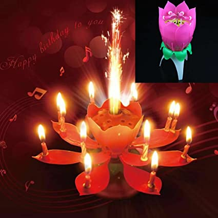Estone Musical Spin Birthday Candle Flower Party Gift Sparkler Cake Topper Rotating