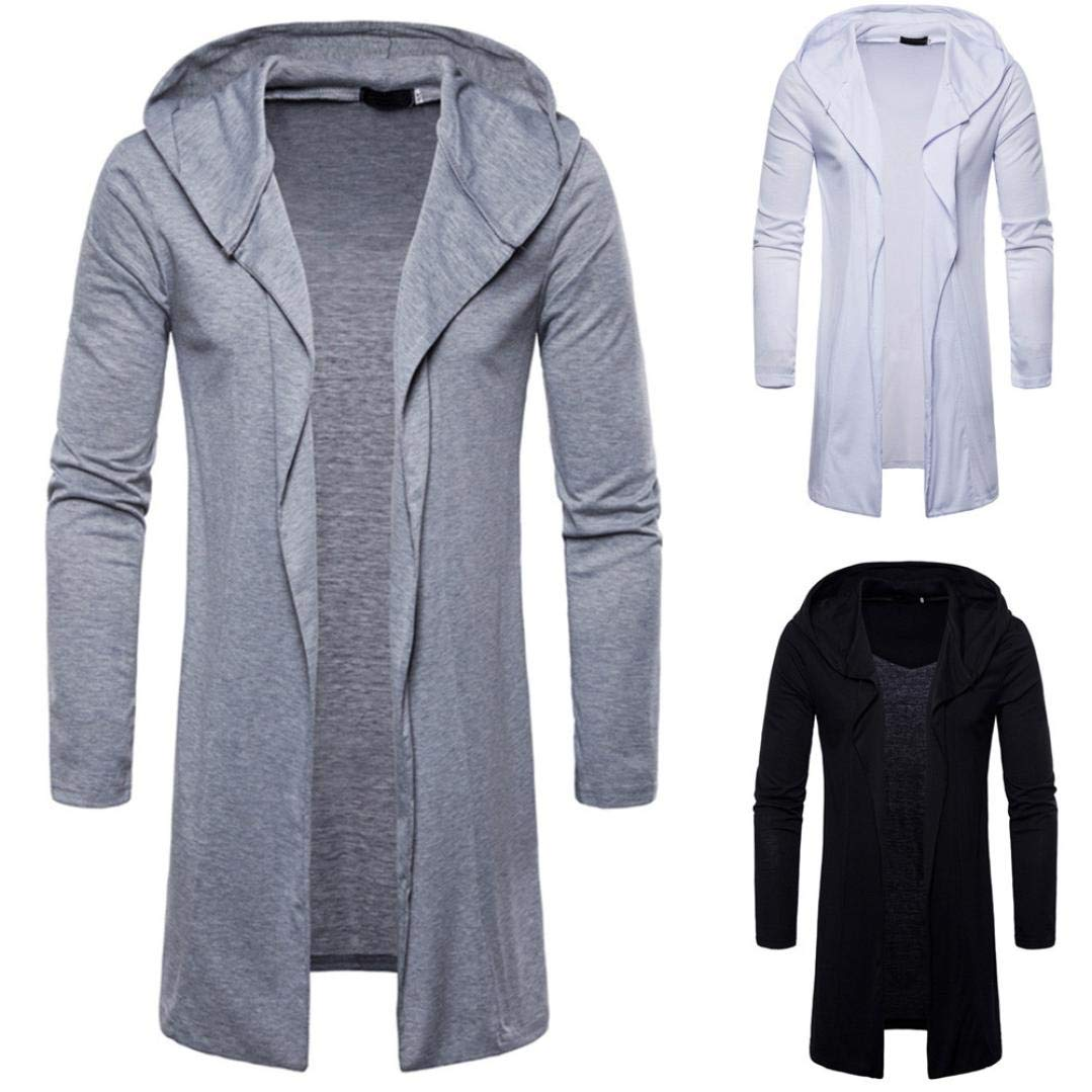 Long Kimono Cardigan for Men,Lightweight Hooded Solid Trench Coat Jacket Cardigan Long Sleeve Outwear Blouse (M, Gray) Goodtrade8®