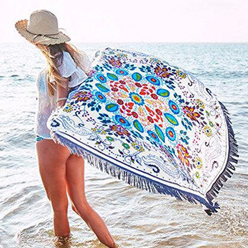 (YJ-Bear Round Indian Mandala Boho Beach Towel Throw Roundie Table Cloth Cover Yoga Mat Blanket Wall Hanging Tapestry with Tassels 59