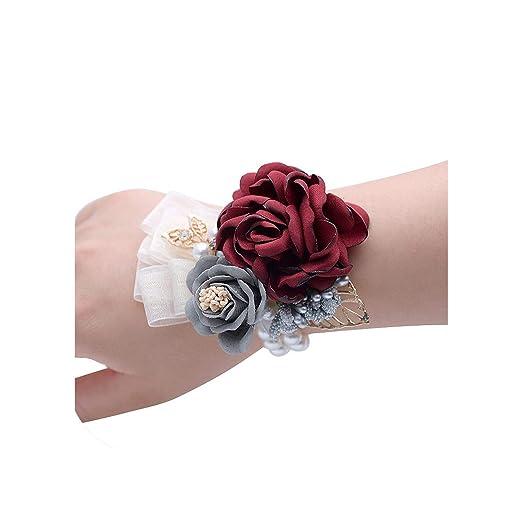 Lady night wrist flowers Ramillete de Seda para Novio, Novio ...