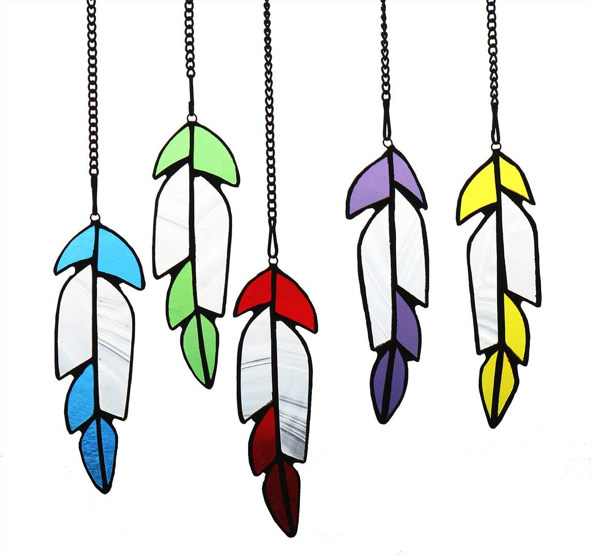 HAOSUM Feather Decor Stained Glass Window Hanging Boho Decor Tiffany Style Suncatcher