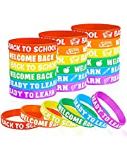 36 Pieces Welcome Back to School Bracelets Silicone Wristbands Rubber First Day of School Favors Rewards School Opens Prize for Students Teens Semester Begins School Party Supplies Decorations