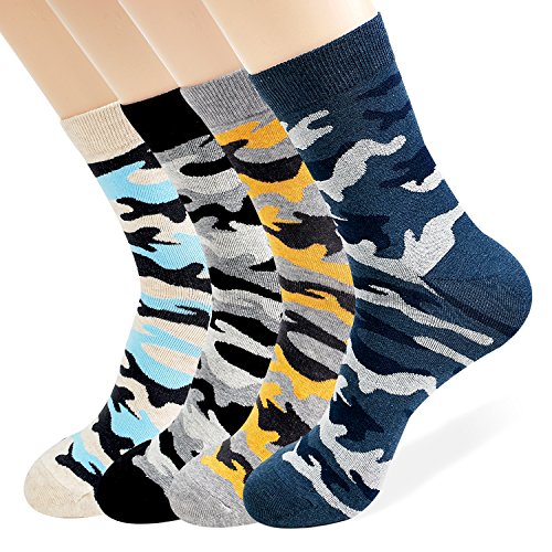 Mens 4 Pairs of Luxury Design Socks ( Striped, Patterned, Stripe, Grid ) With Extra Fine Combed Cotton Size 7 to 11 (CAMO)
