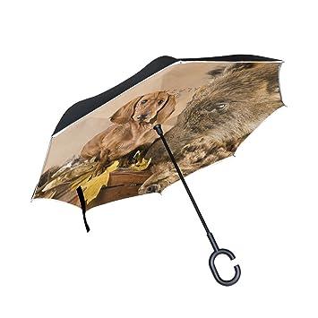 XiangHeFu - Paraguas invertido de Doble Capa con Trofeo de Caza y Protección contra el Viento