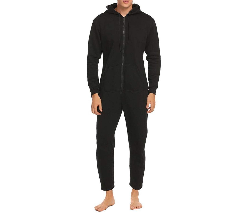 Nerefy Men Sleepwear One Piece Pajamas Set Long Sleeve Hooded Zip Front Fleece Lined Pajama Set Adult Onesies Home Sleepwear