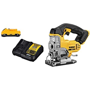 DEWALT DCS331B 20-Volt MAX Li-Ion Jig Saw(Tool Only), Yellow with 20V Battery Pack