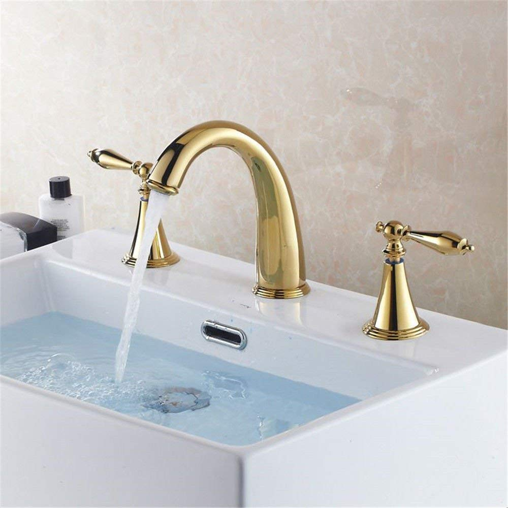 A NANIH Home Sink Mixer Tap Bathroom Kitchen Basin Water Tap Leakproof Save Water gold Plated Taps Split Cold And Hot Copper Basin-Wide Three-Hole B (color   B)
