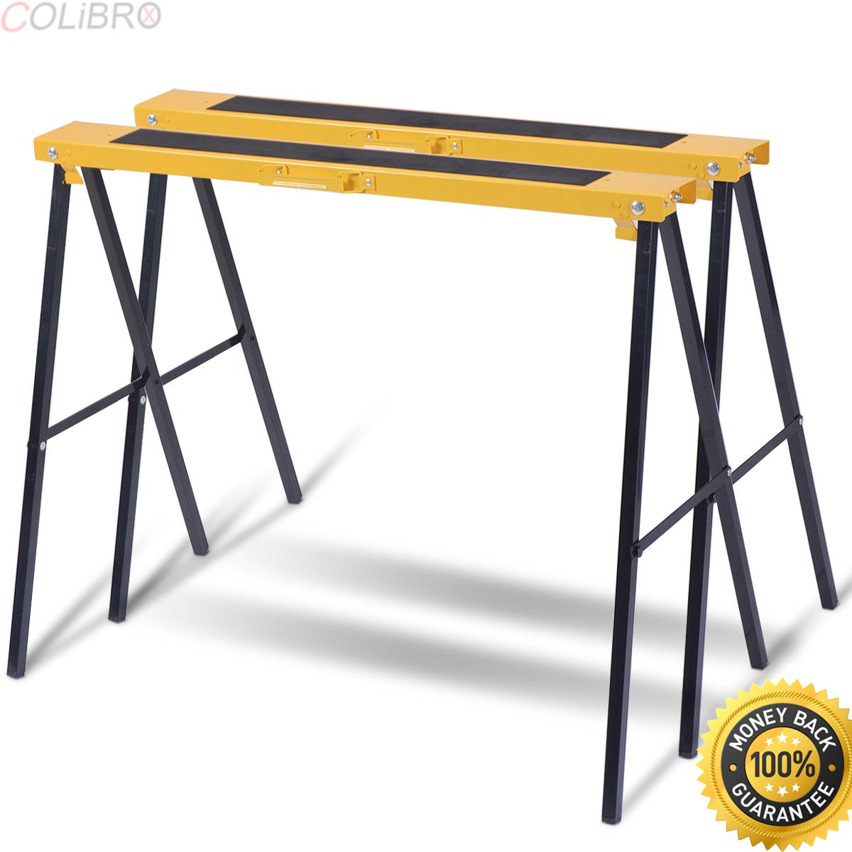COLIBROX--New 2 Pack Heavy Duty Saw Horse Steel Folding Legs Portable Sawhorse Pair. kobalt 42 in steel adjustable saw horse. best sawhorse system with clamp amazon. sawhorses harbor freight.