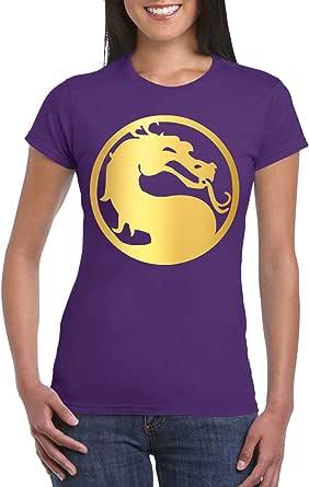 Purple Female Gildan Short Sleeve T-Shirt - Mortal Kombat Symbol – Big – Gold design