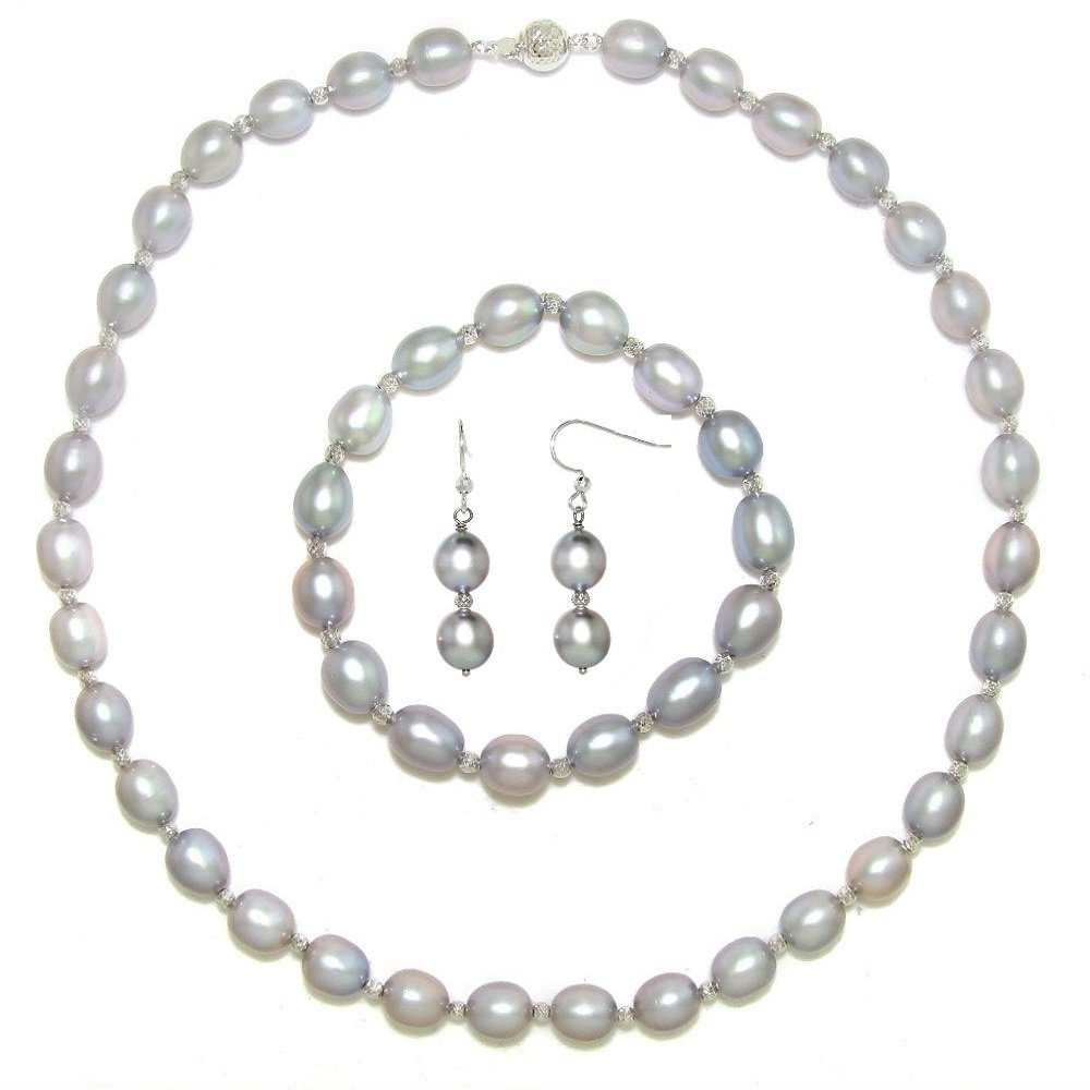 Sterling Silver 8-8.5mm Gray Freshwater Cultured Pearl Necklace, Bracelet, and Hoop Earrings Set