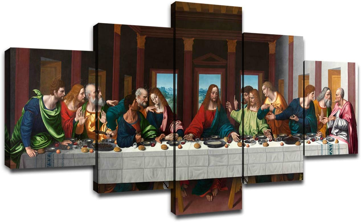 Last Supper Wall Art for Living Room Wall Decor Prints Frame Canvas Poster Christ Religious Painting Modern Artwork Jesus Christian Pictures Bedroom Decoration Ready to Hang(60''Wx32''H)