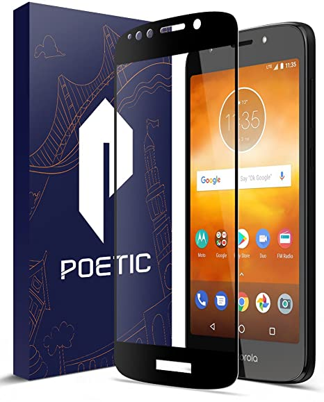 newest 0b506 bdd32 Moto E5 Play Screen Protector,Moto E5 Cruise Screen Protector, Poetic [HD  Clear][Case Friendly][Anti-Fingerprint] Premium Tempered Glass Screen ...