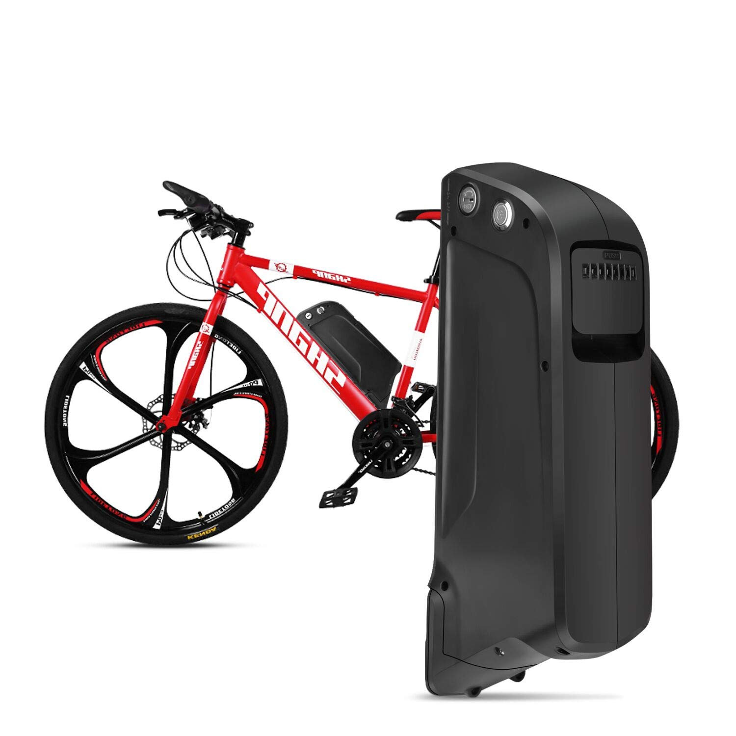 Sunbond EBike Battery 48V 11.6AH Lithium ion Rechargeable Battery with USB Port (Black), with Charger, Electric Bicycle Battery Pack Electric Bicycle Battery, Motorcycle Bicycle Mountain Bike