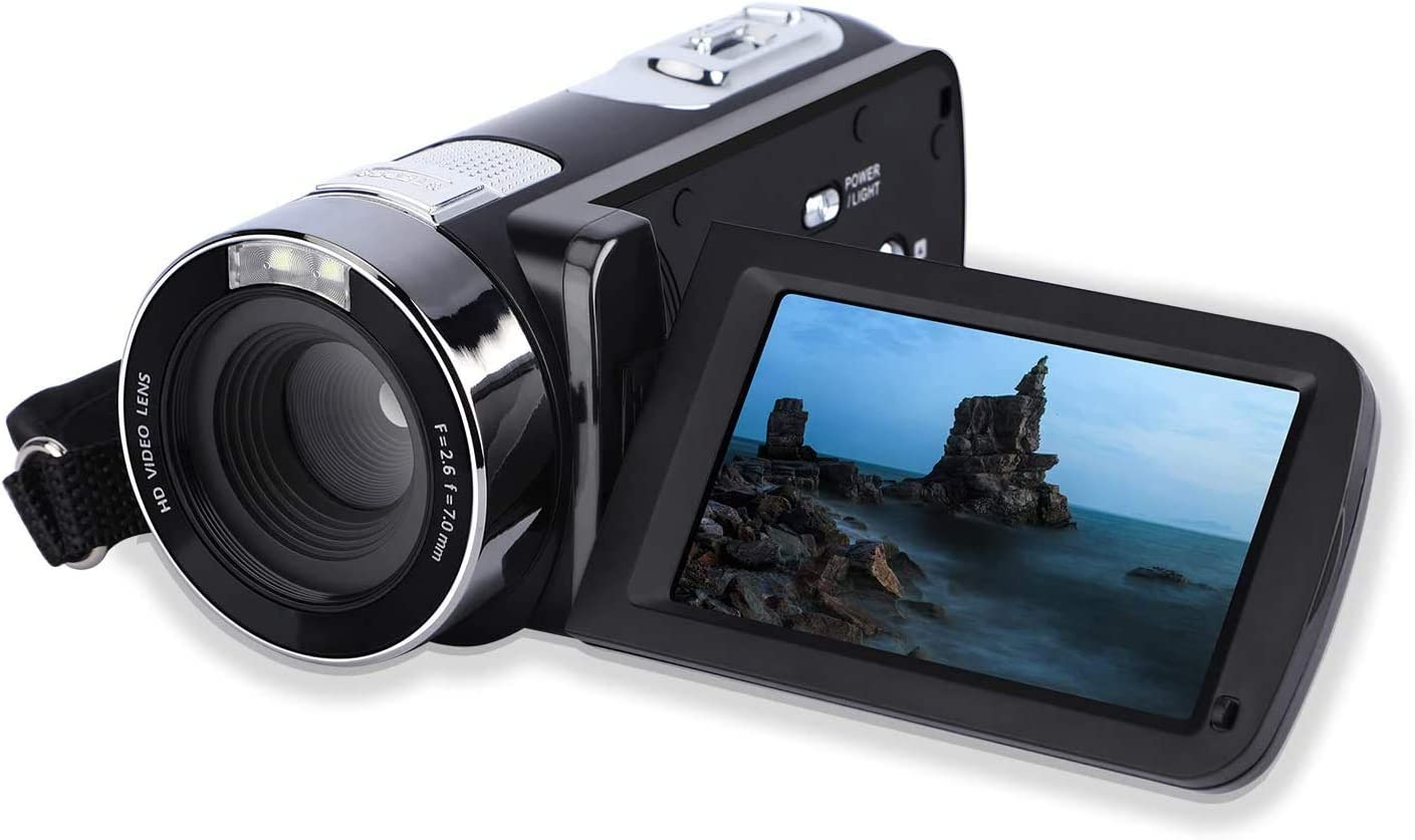 Videokamera-Camcorder 24MP FHD 1080P YouTube Vlogging-Kamerarecorder mit 3,0-Zoll-Bildschirm mit 270-Grad-Drehung 18-facher Digitalzoom