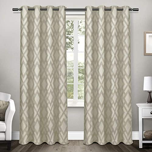 Exclusive Home Curtains Easton Jacquard Blackout Window Curtain Panel Pair with Grommet Top, 54×108, Taupe, 2 Piece