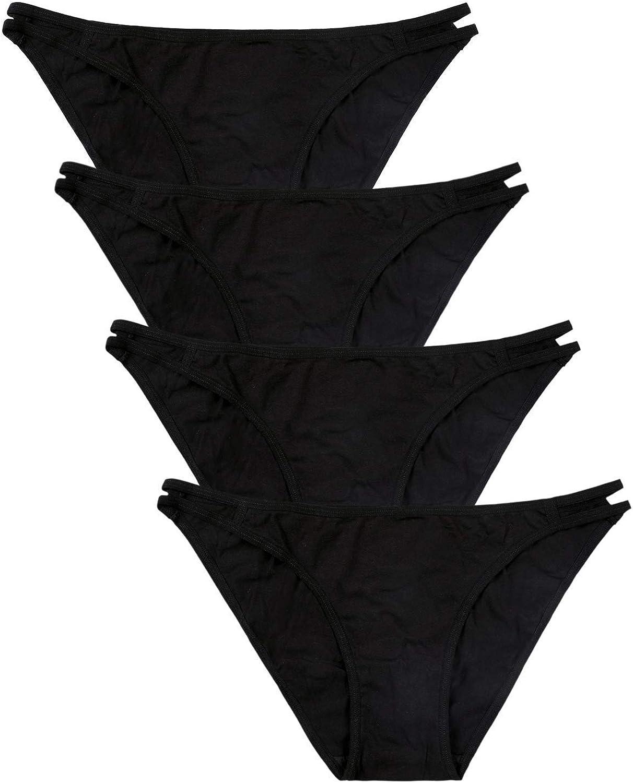 ATTRACO Womens Cotton Underwear Stretch Bikini Panties High Cut Briefs Low Rise 4 Packs