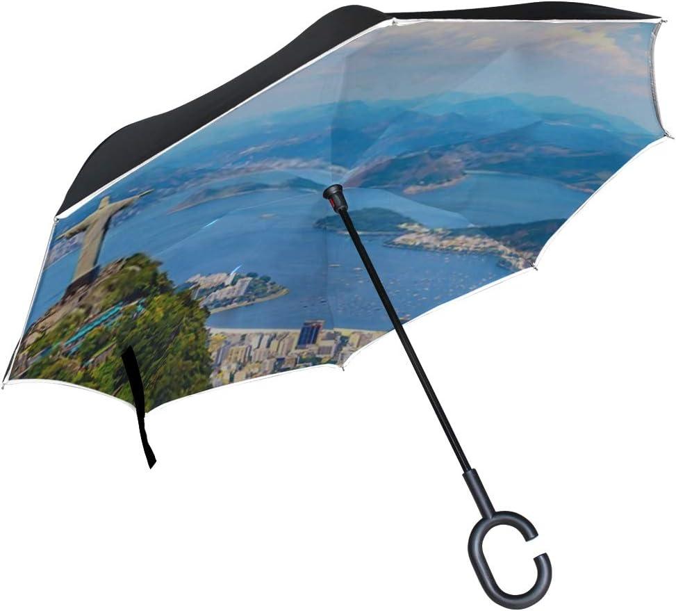 Double Layer Inverted Inverted Umbrella Is Light And Sturdy Aerial View Rio De Janeiro Christ Reverse Umbrella And Windproof Umbrella Edge Night Refl