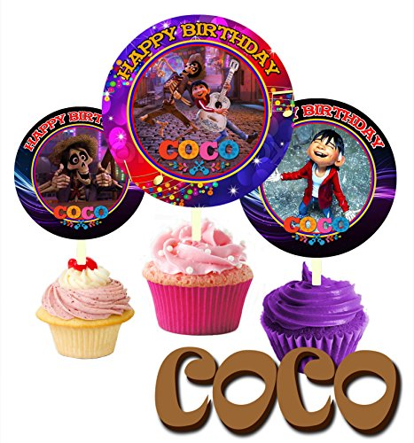 12 COCO Birthday Inspired Party Picks, Cupcake Picks, Cupcake Toppers #1 by Crafting Mania LLC.
