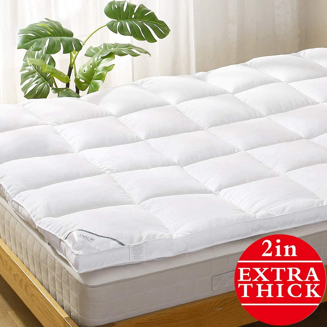 Mattress Topper Twin Pillowtop Bed Topper Cooling Mattress Pad with Anchor Bands - Extra Thick 2""