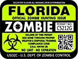 "ProSticker 1219 (TWO pack) 3""x 4"" Zombie Series ""Florida"" Hunting License Permit Decal Sticker"