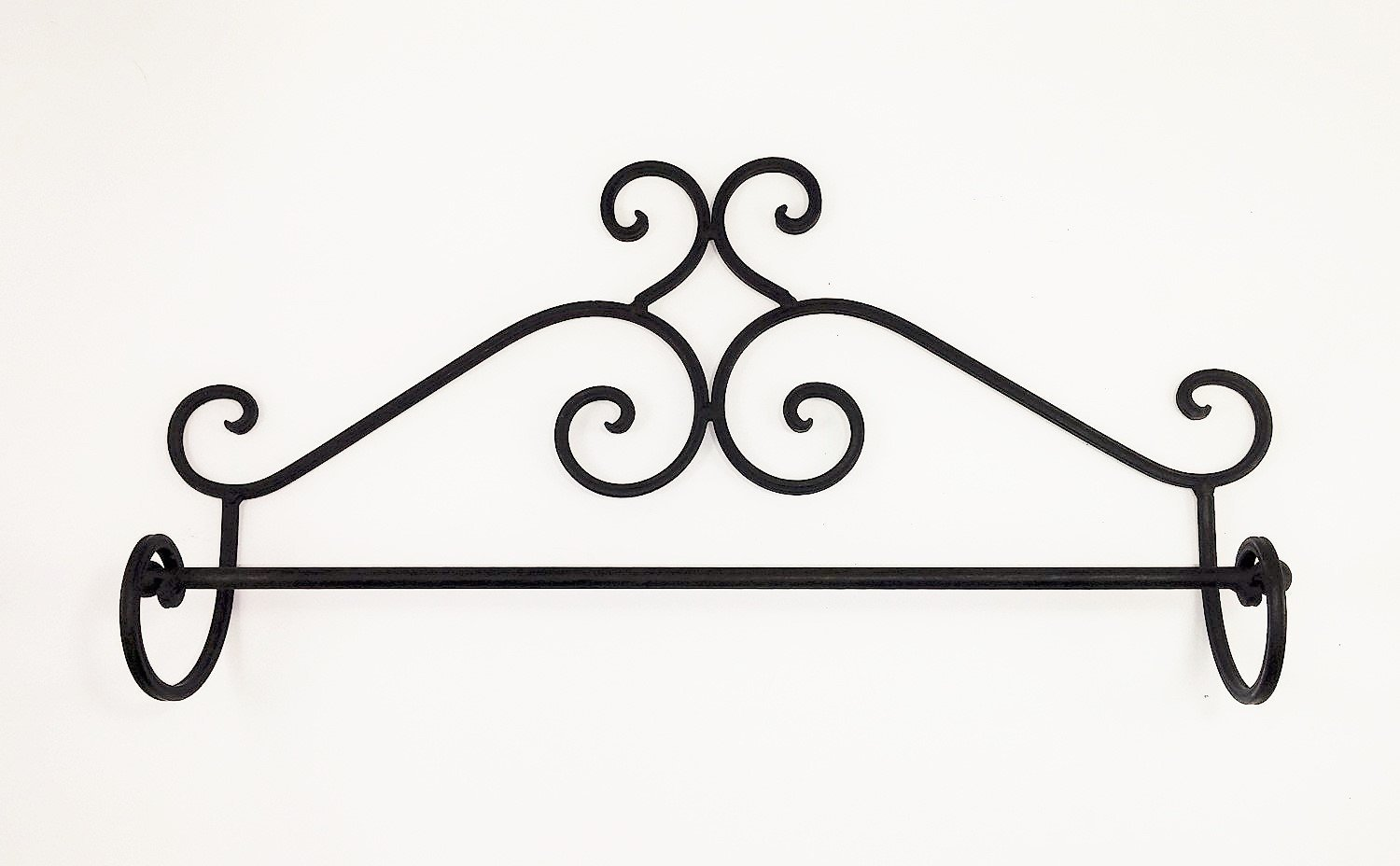 """""""ABC Products"""" - Wrought Iron Towel Rack - Elegant Scroll Work - Old World Style - Wall Hanging - (Dark Bronze Rustic Finish - Bath or Kitchen"""
