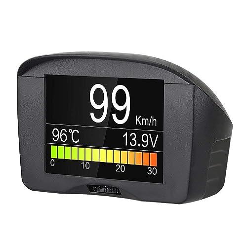 Autool Car OBD II Digital KPH / MPH Compteur de vitesse et antidémarreur Code de défaut d'alarme Borne de température d'eau claire avec écran LCD pour 12 V La plupart des véhicules à essence et diesel