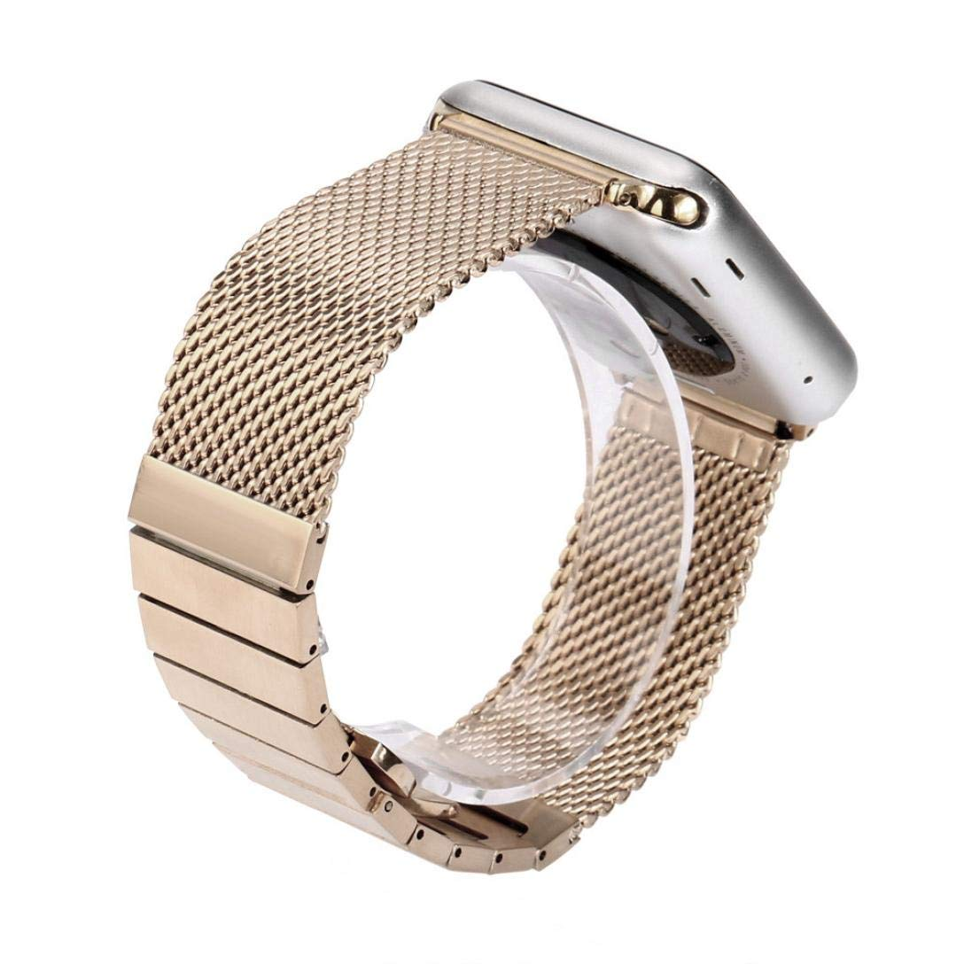 Wristband Watch Strap For Apple Watch Series 1/2 42mm, Saying Brand New Mesh Milanese Stainless Steel Watch Band Strap (Rose Gold)