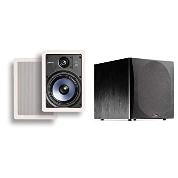 Polk Audio Rc65i 6 5 Inch 2 Way In Ceiling Speakers Pair With Psw505 12 Inch Powered Subwoofer Easily Fits Looks Minimal Gives Out Great Sound