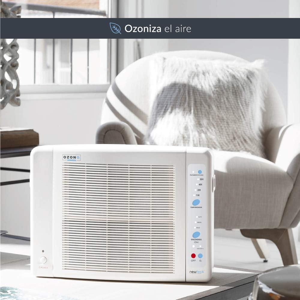 Generador de Ozono Doméstico de Aire y Agua Programable 8h. Elimina Virus, Bacterias, Olores, Ioniza. Filtro HEPA, Carbón Activado, Prefiltro y Filtro de Bacterias ...