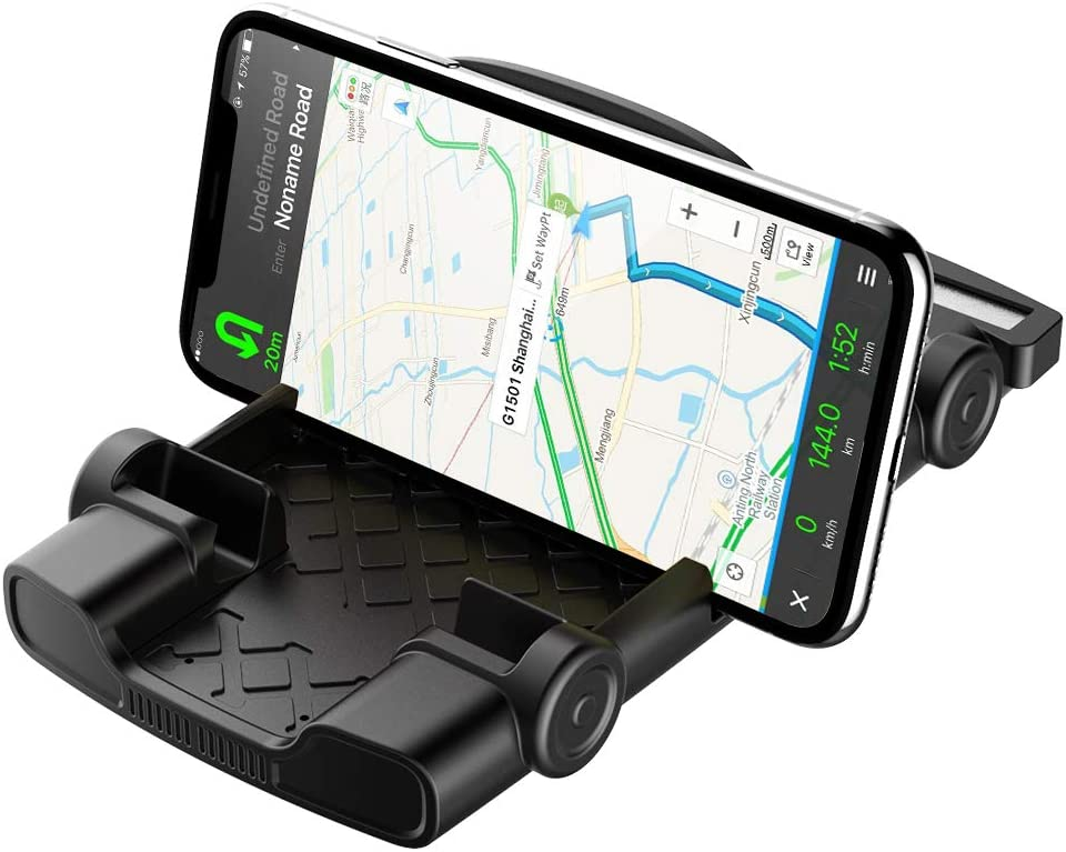 Anti-Slip Car Phone Mount Holder Cradle Dock Stand Silicone Dashboard Holder for Car Compatible for iPhone, Samsung, Android Smartphones, GPS Devices and More (Black)