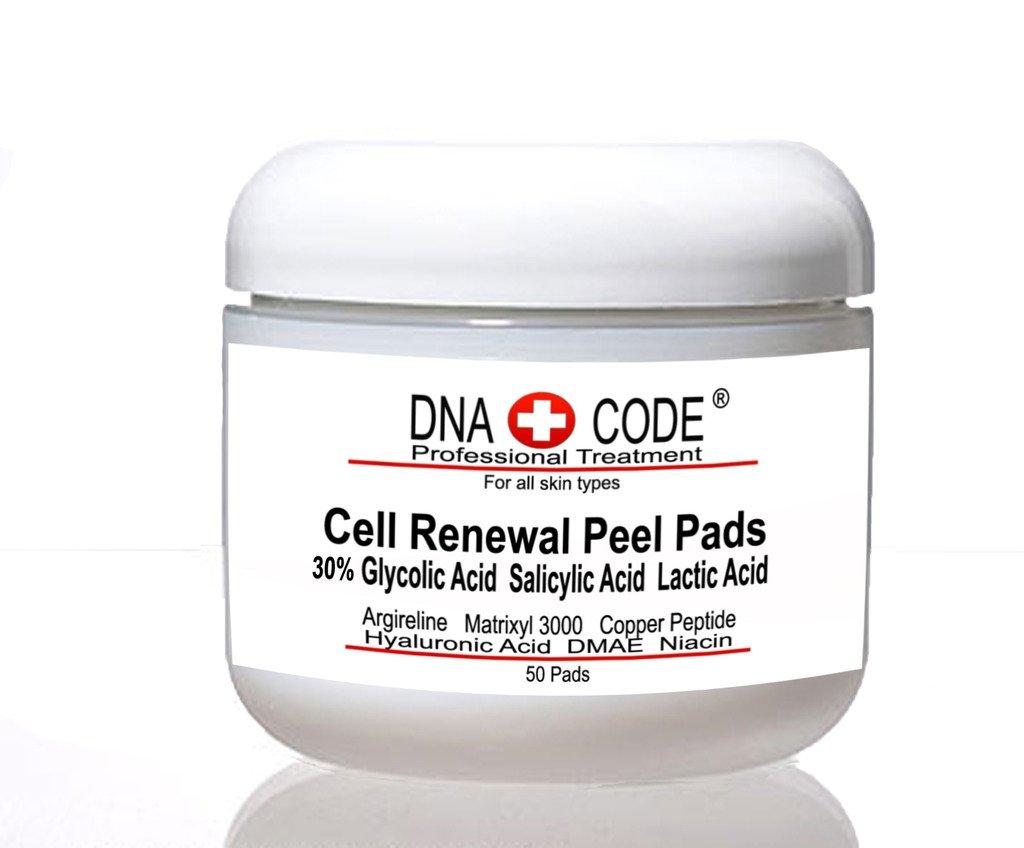 AntiAging Peel Pads-30% Glycolic Cell Renewal Peel Pads+ Salicylic, Lactic Acid, Argireline, DMAE