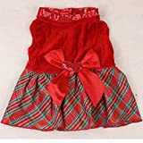 Hot Red Bow Puppy Skirt Tutu Bow Small Pet Dog Cat Clothes Party Dress S