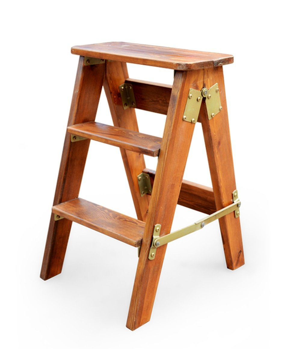 CAIJUN Multi-purpose Folding Ladder Stool oak Ladders Multi-purpose Three-step ladder Portable Solid wood Climb high Fishing stool , 3 colors, high 60cm ( Color : 1# )