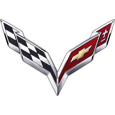 Piatek CV-C7S 2014 2015 2016 2020 Chevy C7 Corvette ARBON Flash Stingray Cross Flags Hood/TrunkChrome Emblem Badge Name Plate (Small Trunk Emblem): Automotive