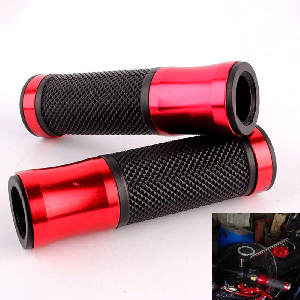 Evomosa 1 Pair 7/8' CNC Motorcycle Bike ATV Sports Aluminum Rubber Gel Hand Grips Handlebar Cafe Racer End Bar (Titanium)