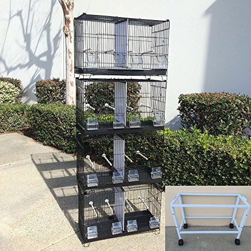 Mcage COMBO: Stack and Lock Double Breeder Cage Bird Breeding Cage With Removable Dividers And Rolling Stand (Breeder Double Lock Cage)