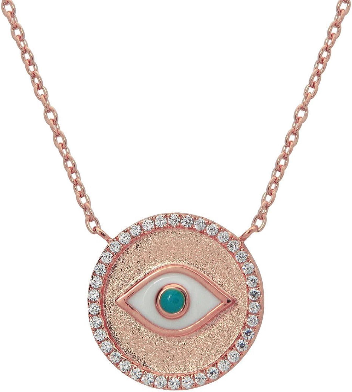 Silver Hamsa Hand Necklace Evil Eye Pendant Jewelry White Enamel Protection 18K Rose Gold Good Luck