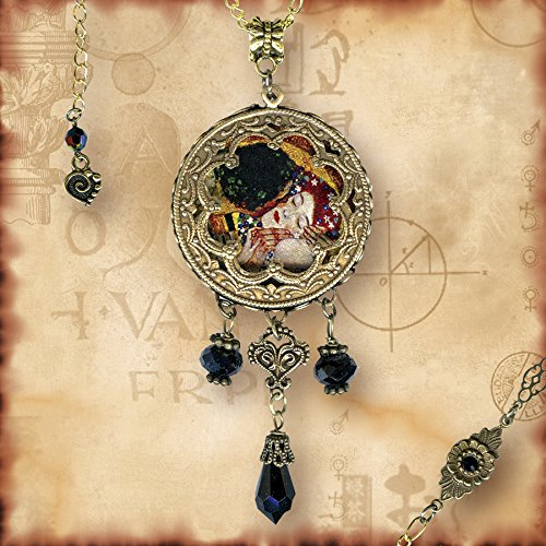 The Kiss Necklace - Symbolz Shimmerz- The Ancient Mysteries Collection - Glass Cabochon Drop Necklace