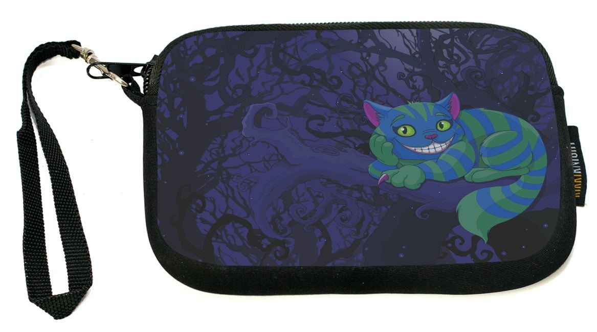 UKBK Grinning Cheshire Cat On Tree Dark Background Neoprene Clutch Wristlet with Safety Closure - Ideal case for Camera, Universal Cell Phone Case etc.